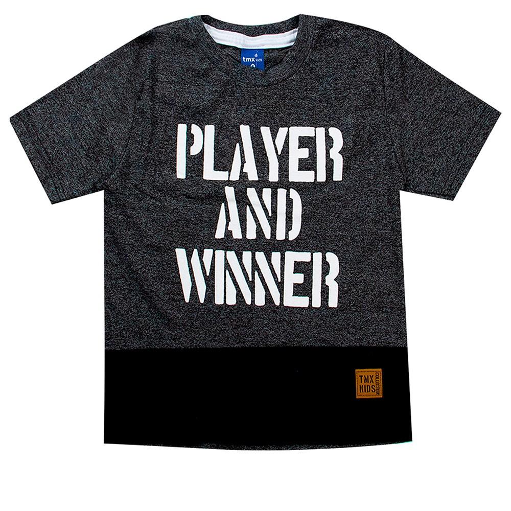 Camiseta Infantil Menino Player And Winner Cinza - TMX