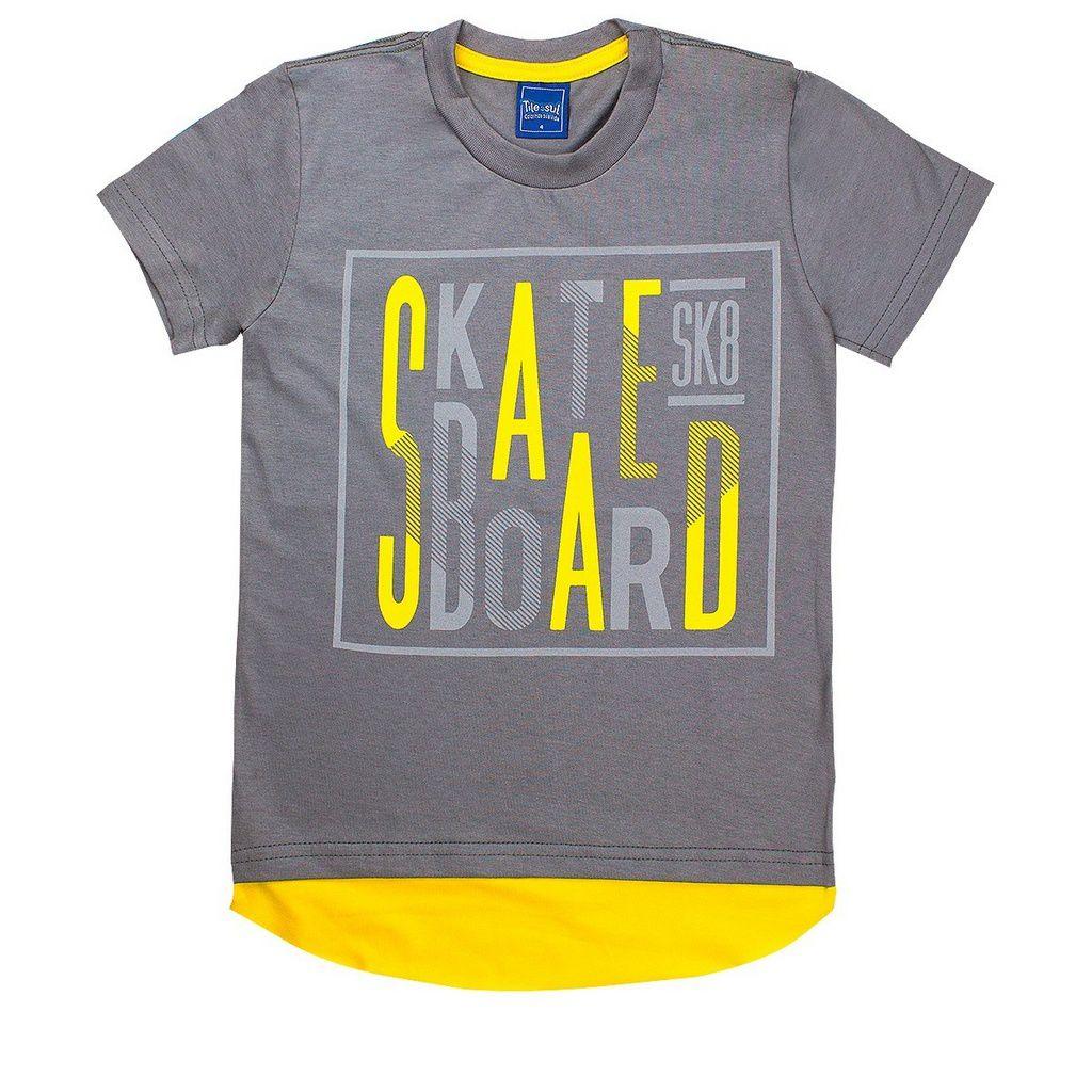 Camiseta Infantil Menino Skate Board Cinza - Tileesul