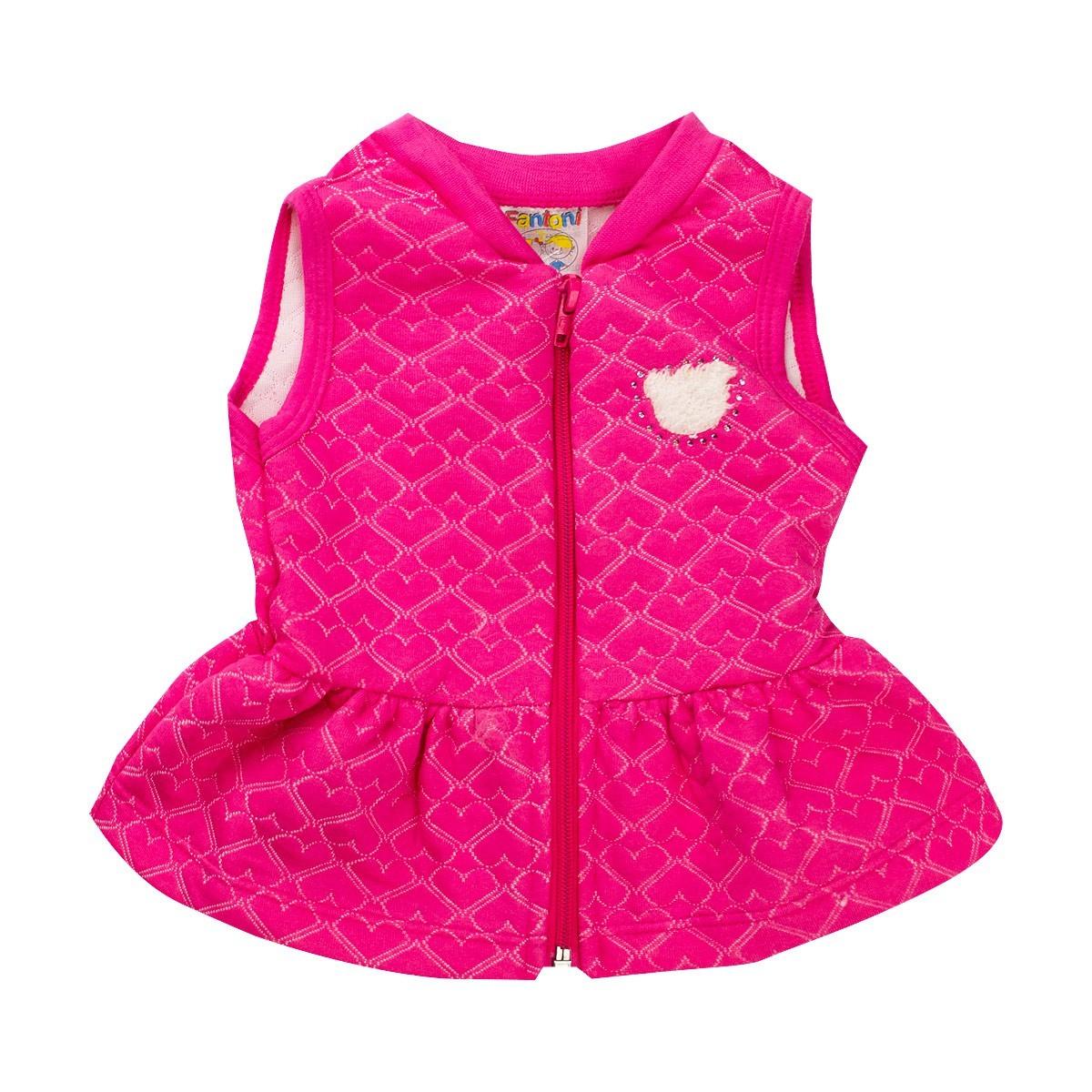 Colete Infantil Menina Com Babado Matelasse Pink Fantoni