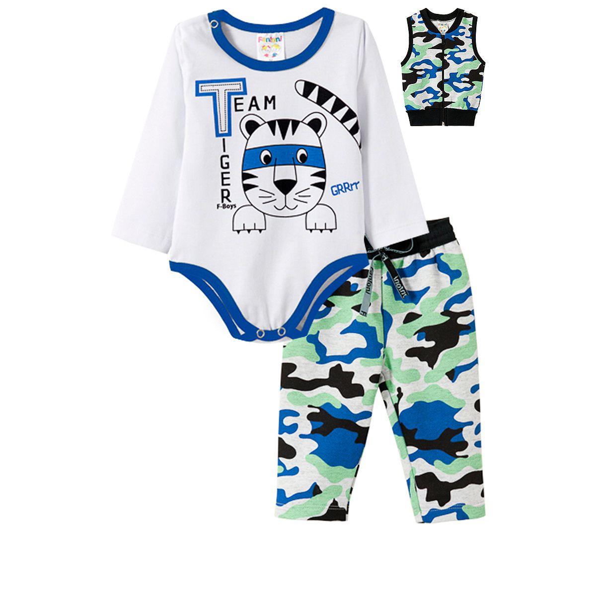 Conjunto Bebê Masculino 3 Peças Body Camuflado - Fantoni
