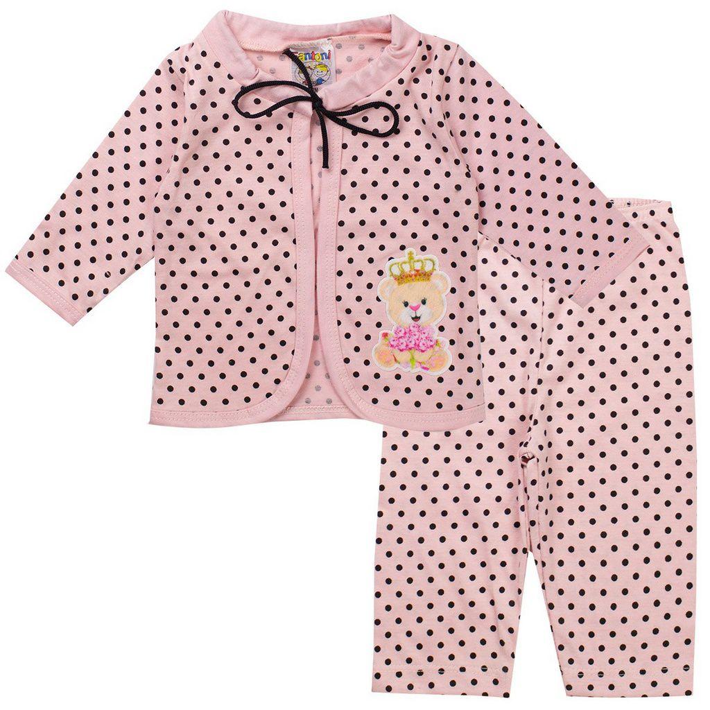 Conjunto Body Bebê Feminino Rosa - Fantoni