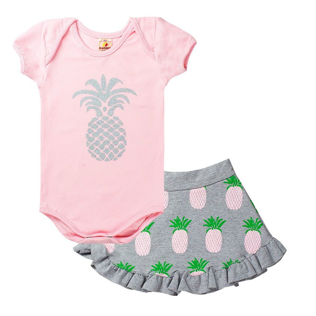 Conjunto Body Infantil Menina Abacaxi Rosa - Isensee