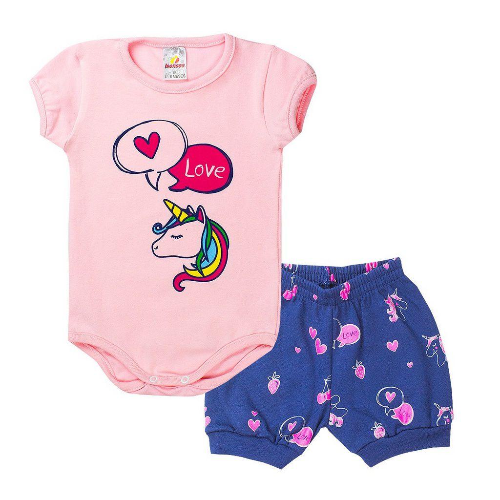 Conjunto Body Infantil Menina Unicórnio Rosa - Isensee