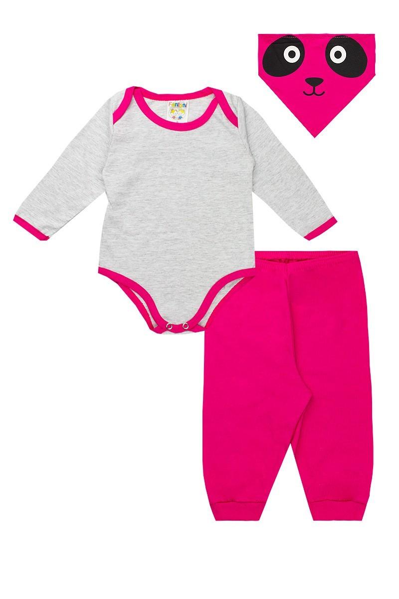 Conjunto Body Meia Estação Calça e Babador Pink - Fantoni