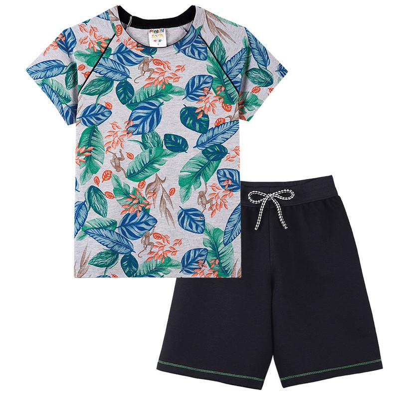 Conjunto Camiseta e Bermuda Moletinho Menino Infantil Verão