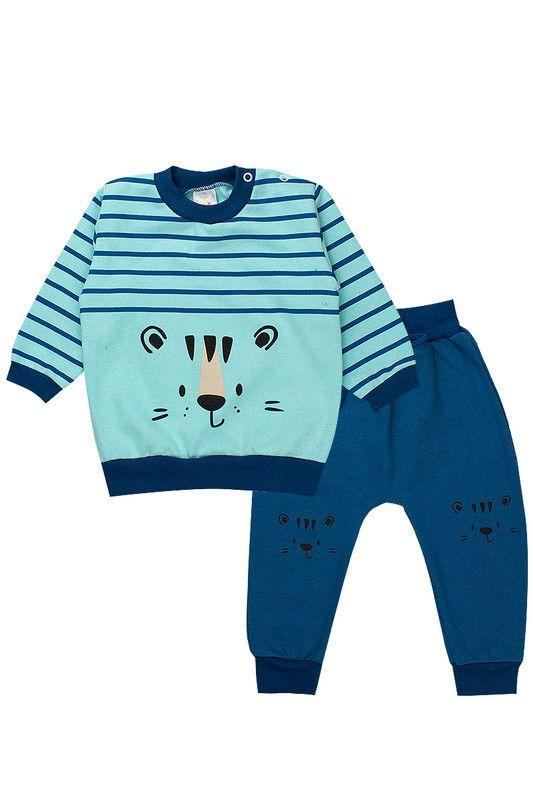 Conjunto de Moletom Bebê Menino Tigre Azul - Isensee