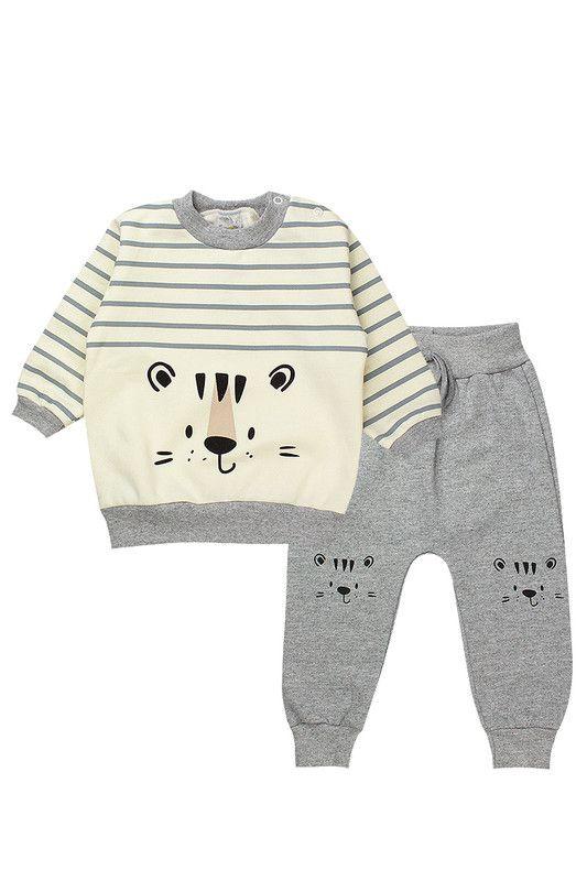 Conjunto de Moletom Bebê Menino Tigre Pérola - Isensee