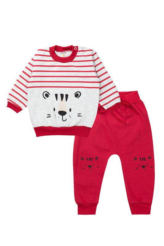 Conjunto de Moletom Bebê Menino Tigre Vermelho e Mescla