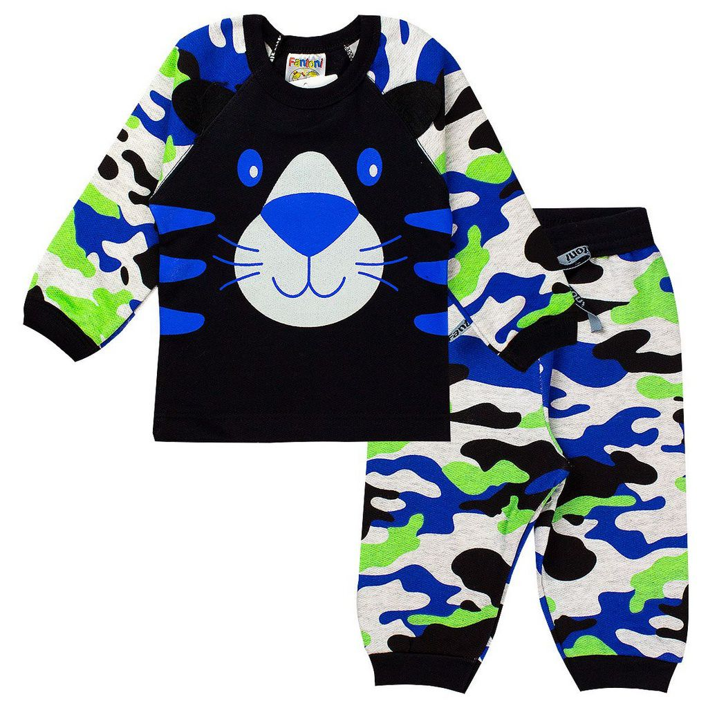 Conjunto de Moletom Infantil Camuflado Azul Roupas Bebê