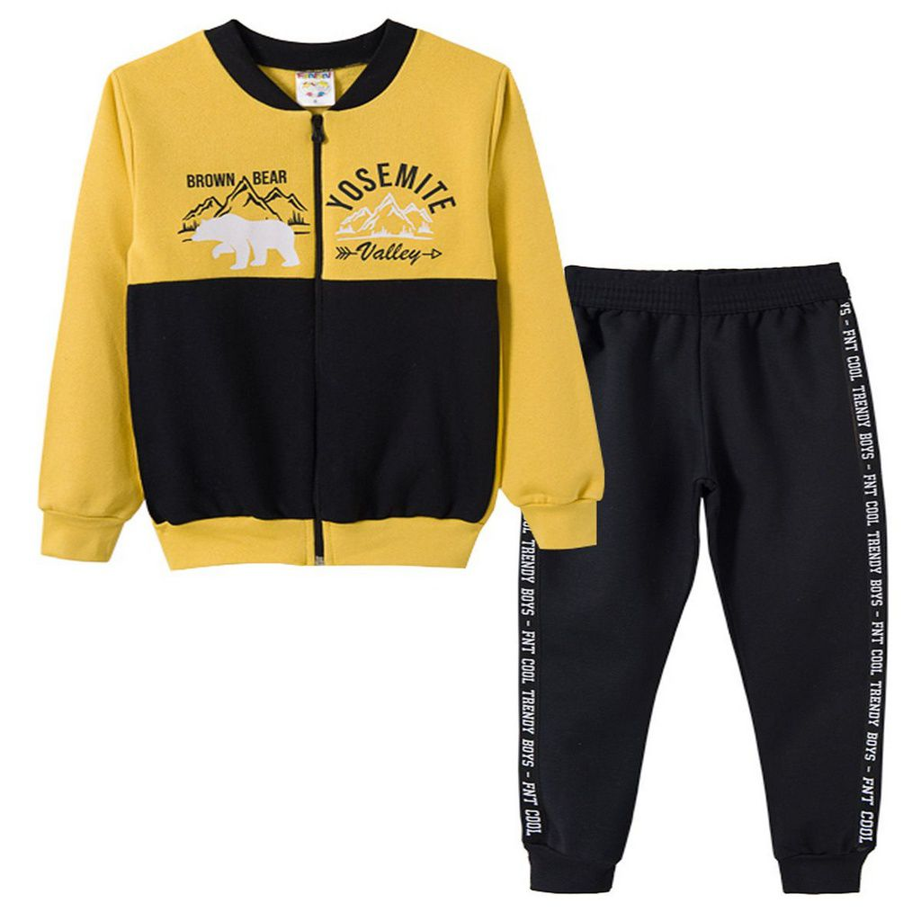 Conjunto de Moletom Infantil Masculino Bomber Amarelo