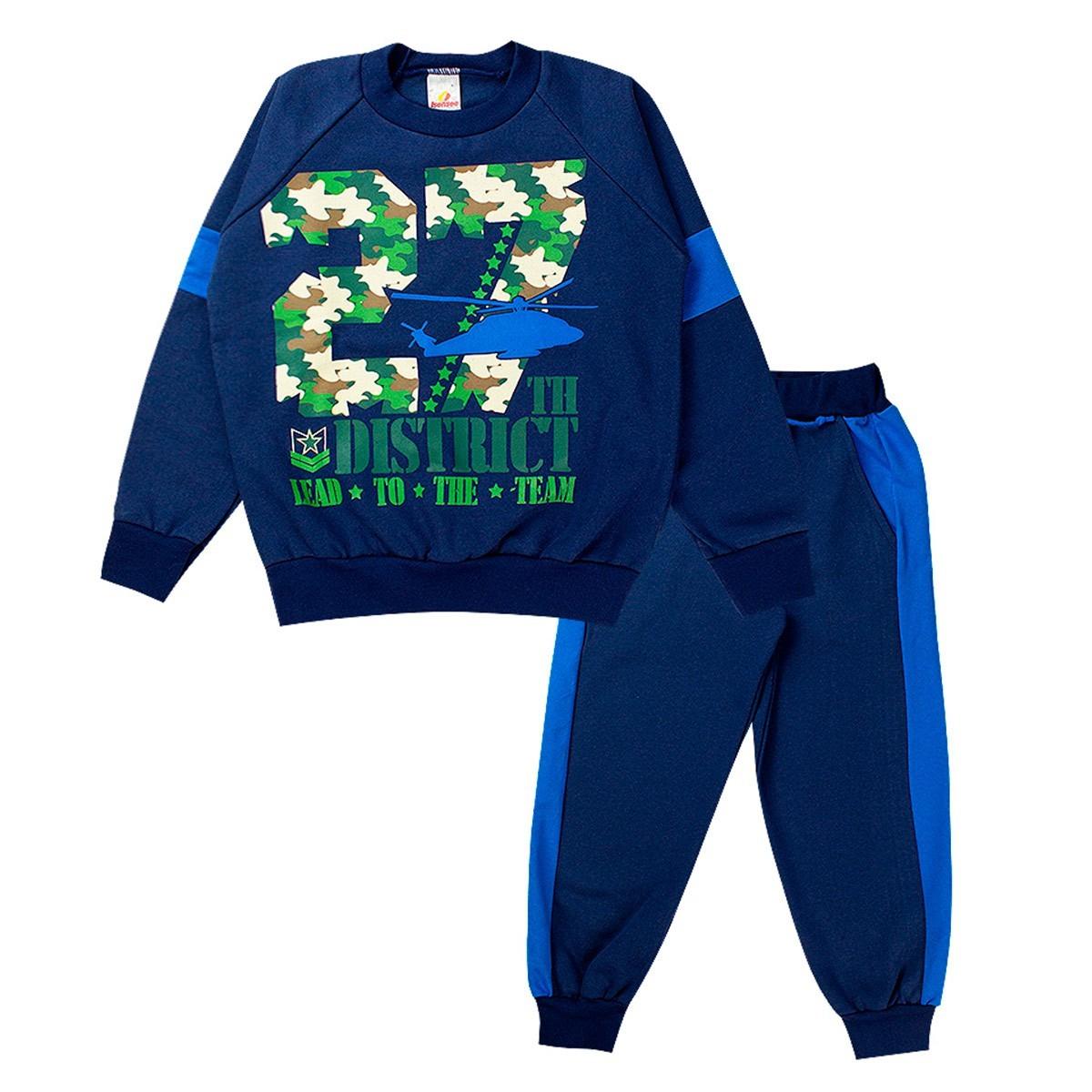 Conjunto de Moletom Infantil Masculino Flanelado Básico Azul