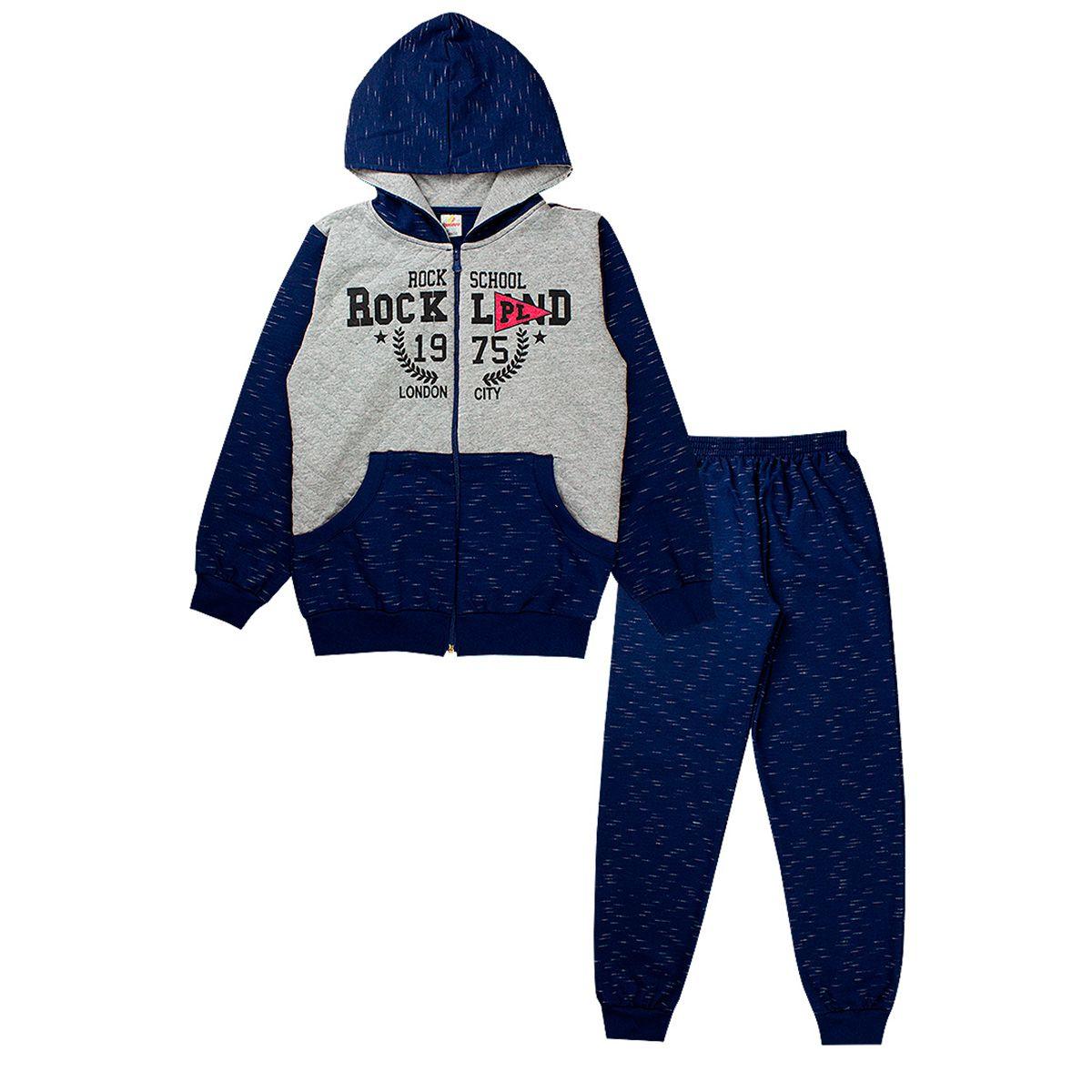 Conjunto de Moletom Infantil Masculino Jaqueta Capuz Azul