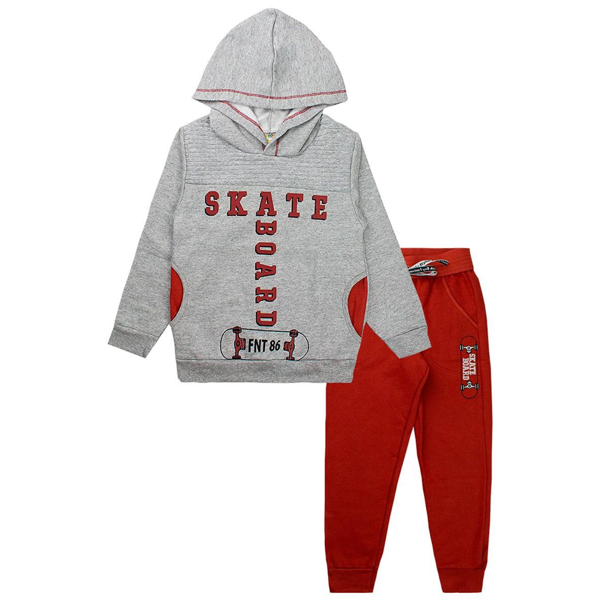 Conjunto De Moletom Infantil Masculino Skate Board Mescla