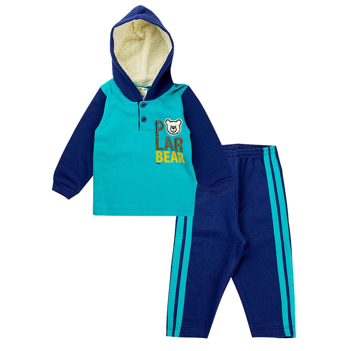 Conjunto de Moletom Infantil Menino  Bear Azul Fantoni