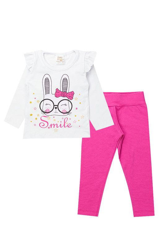 Conjunto Infantil Bebê Menina Smile Branco