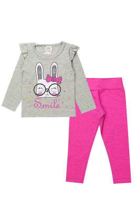 Conjunto Infantil Bebê Menina Smile Mescla