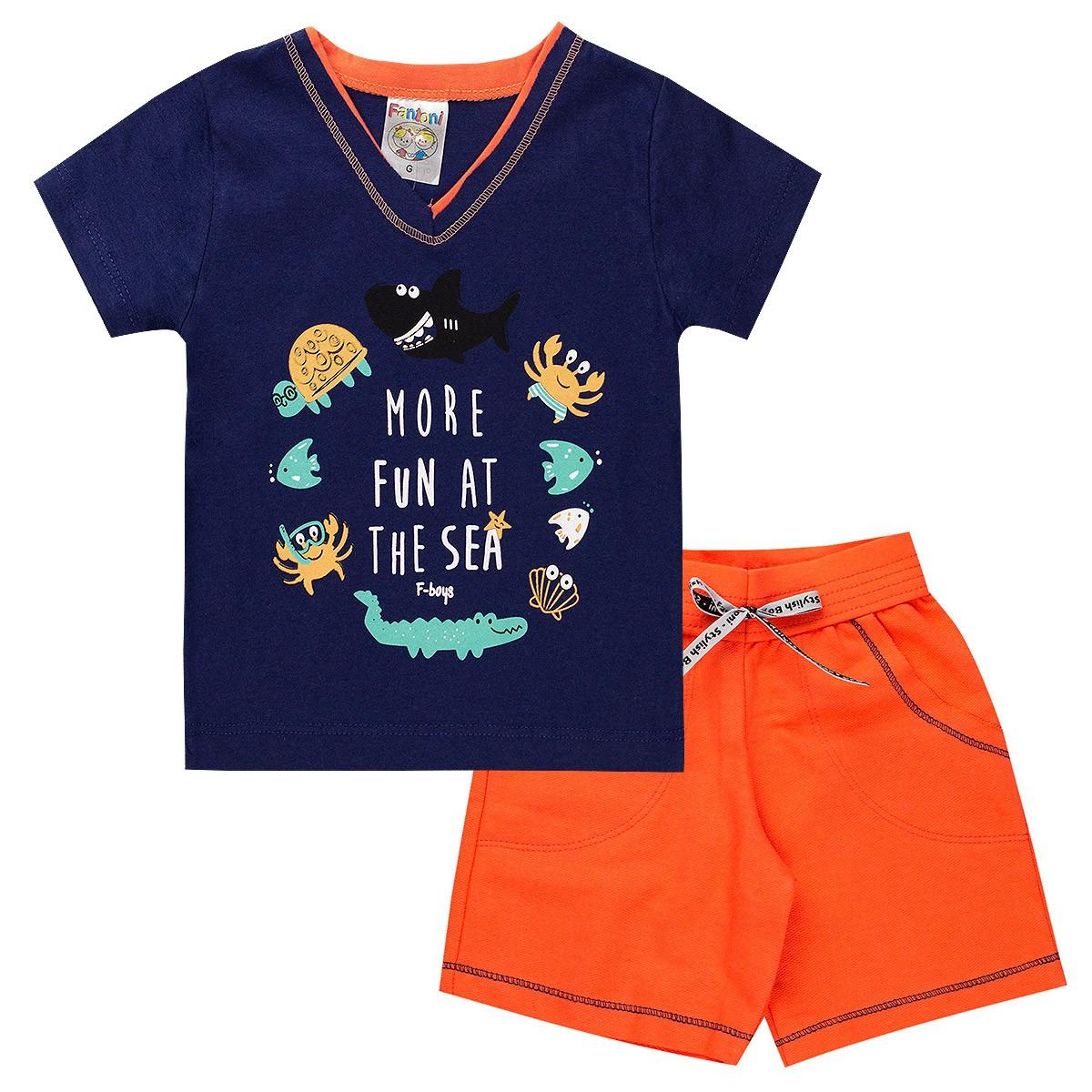 Conjunto Infantil Bebê Menino Ocean More Fun Laranja