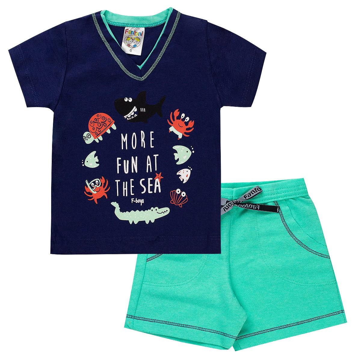 Conjunto Infantil Bebê Menino Ocean More Fun Verde