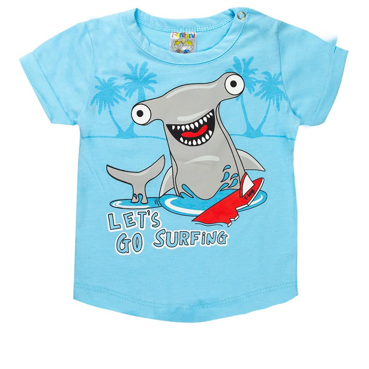 Conjunto Infantil Bebê Menino Verão Let´s Go Surfing Azul