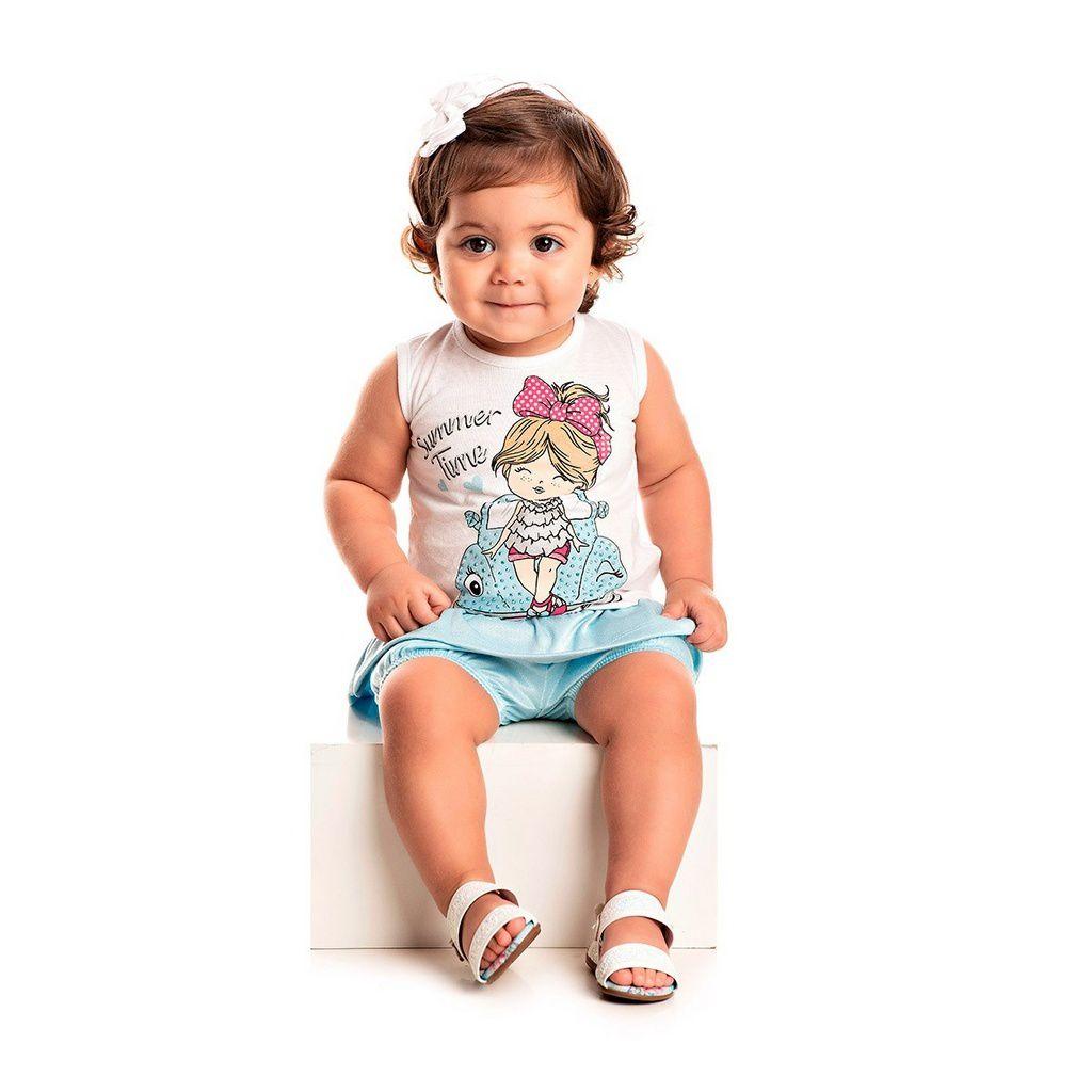 Conjunto Infantil Feminino Bata Denim Bright Branco - Tileesul