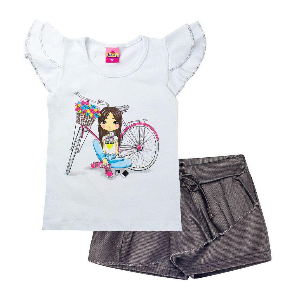 Conjunto Infantil Feminino Bicicleta Branco - Tileesul