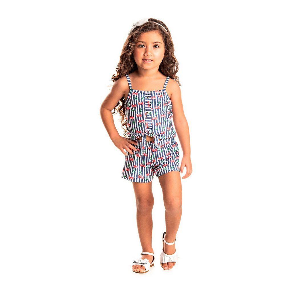 Conjunto Infantil Feminino Cropped Brush Flores Pérola - Tileesul