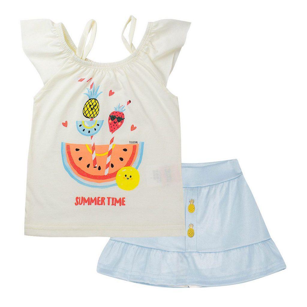 Conjunto Infantil Feminino Denim Bright  Pérola - Tileesul