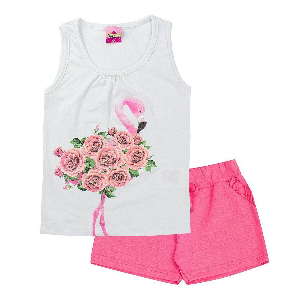 Conjunto Infantil Feminino Flores Branco - Tileesul