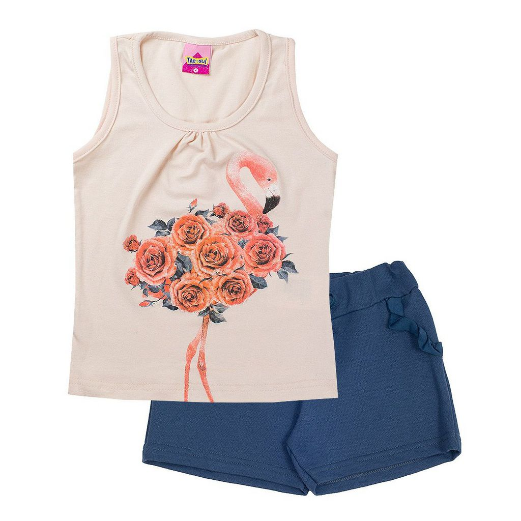 Conjunto Infantil Feminino Flores Pérola - Tileesul