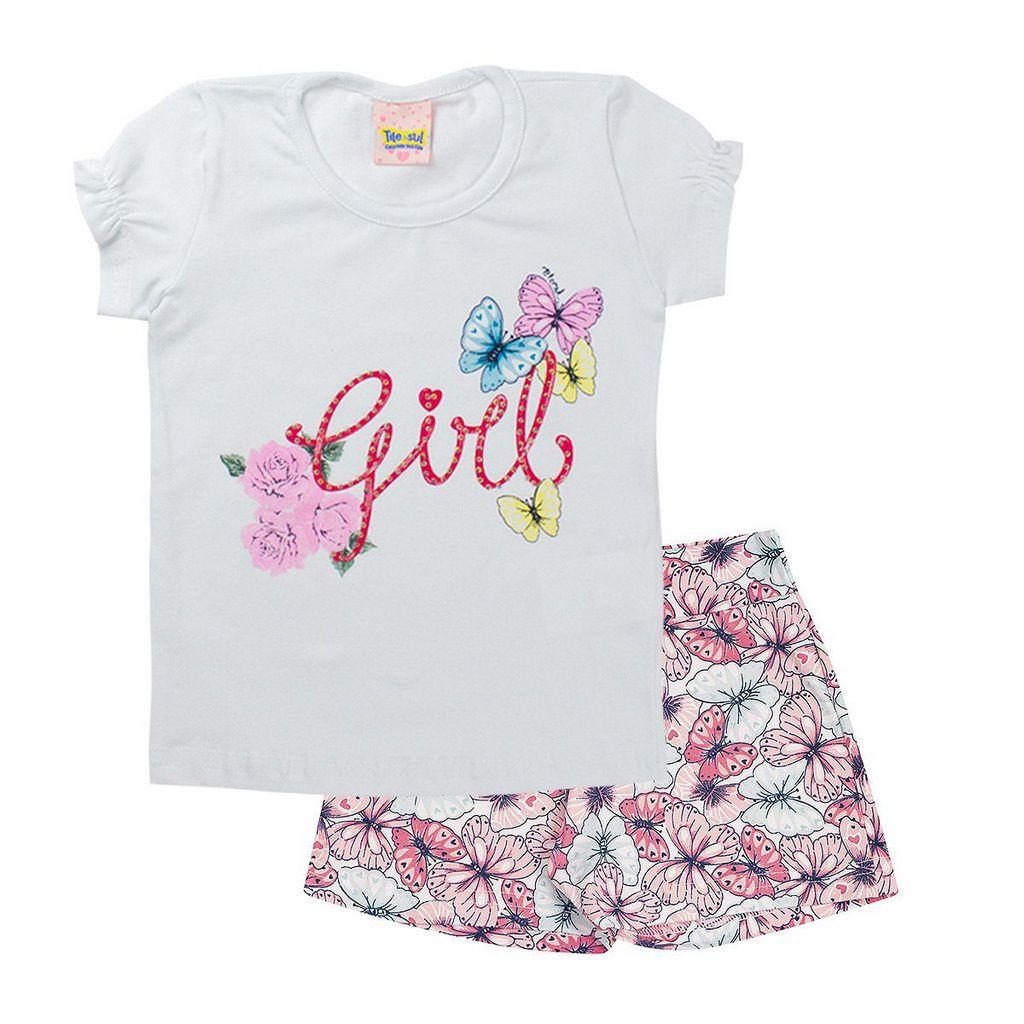 Conjunto Infantil Feminino Girls Branco - Tileesul