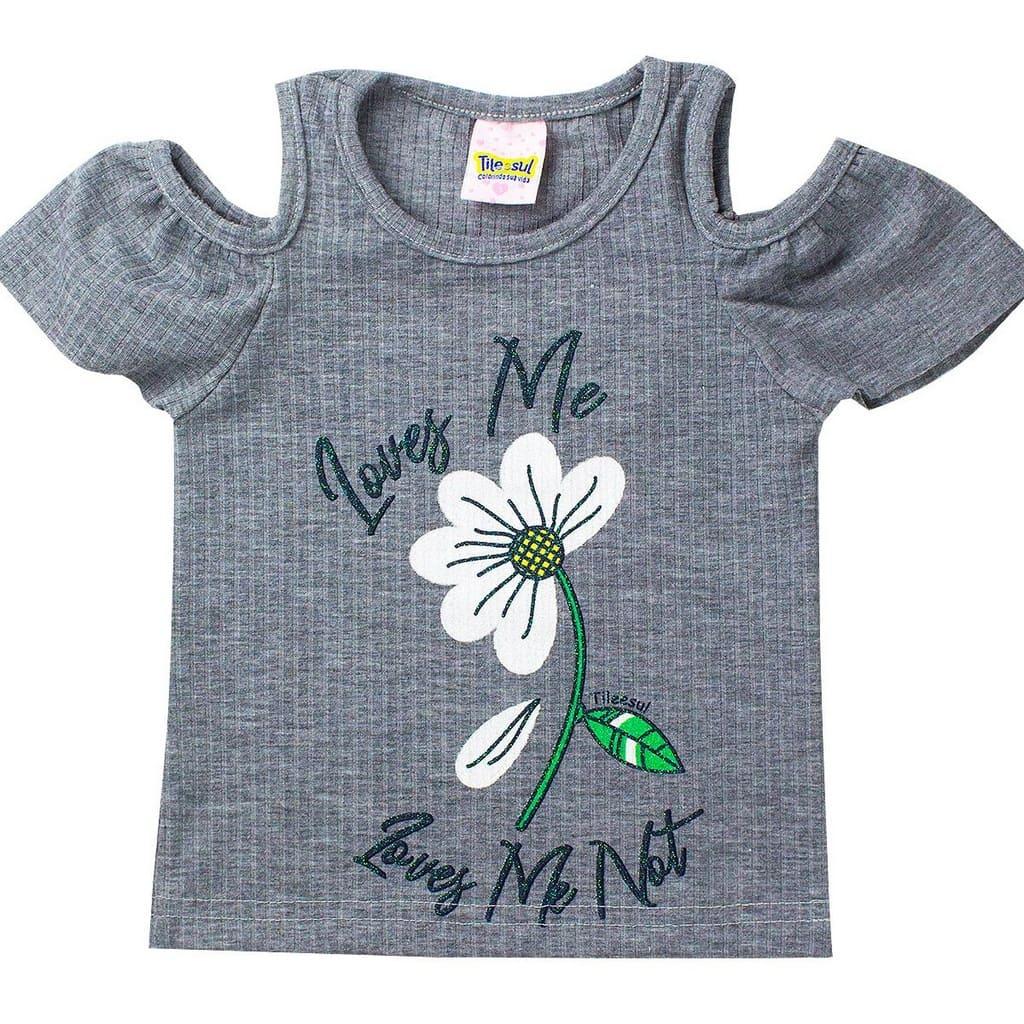 Conjunto Infantil Feminino Love Me Mescla - Tileesul