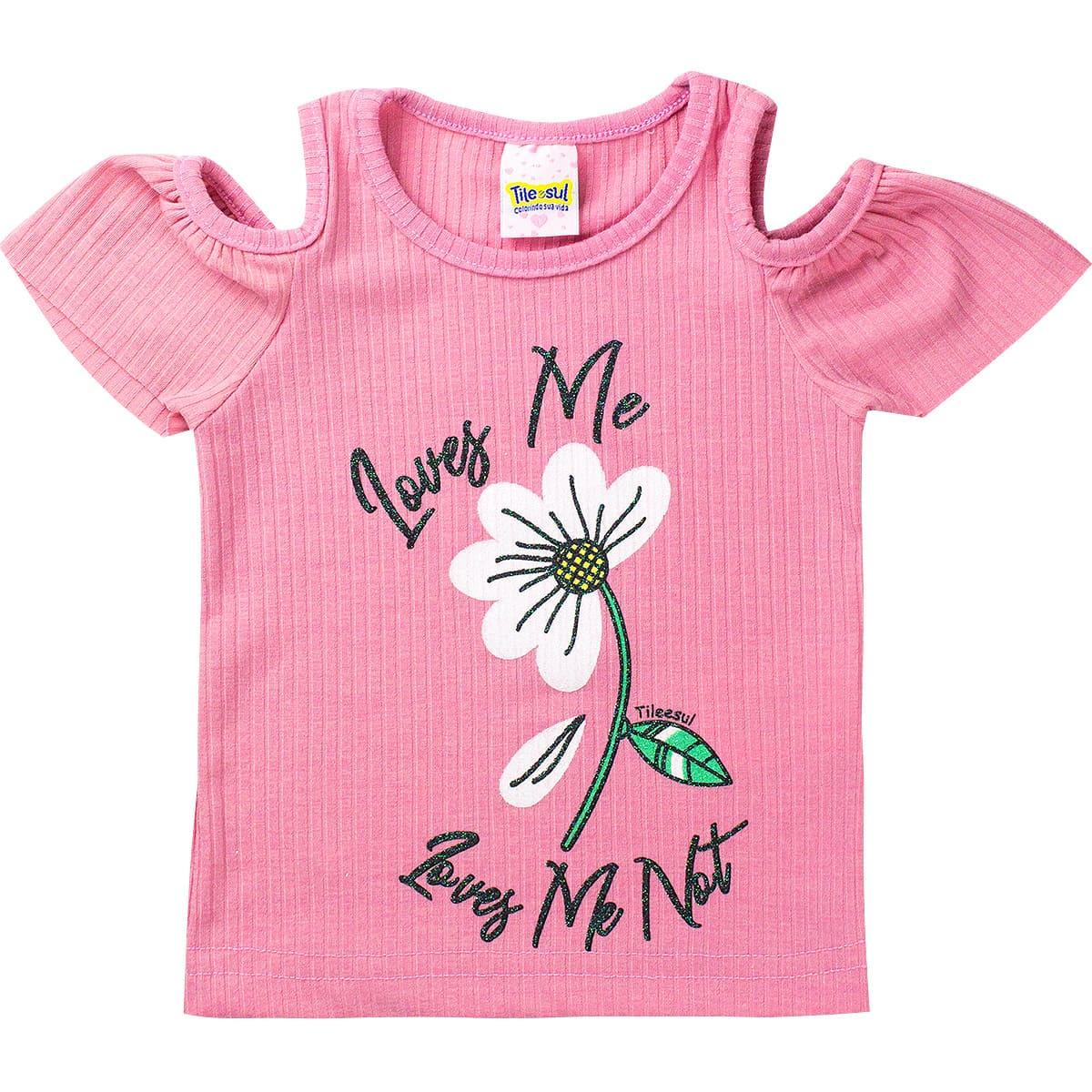 Conjunto Infantil Feminino Love Me Rosa - Tileesul