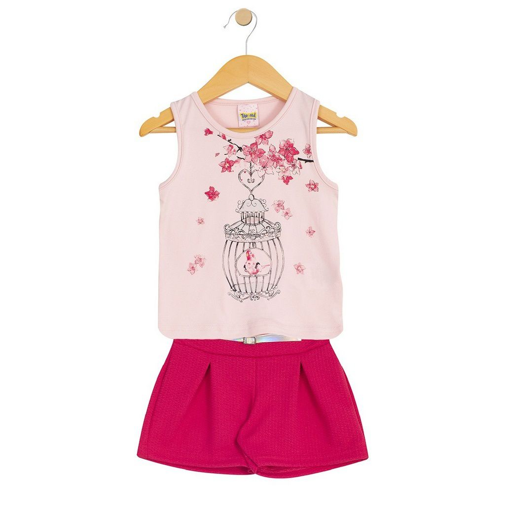 Conjunto Infantil Feminino Regata Passarinho Rosa - Tileesul