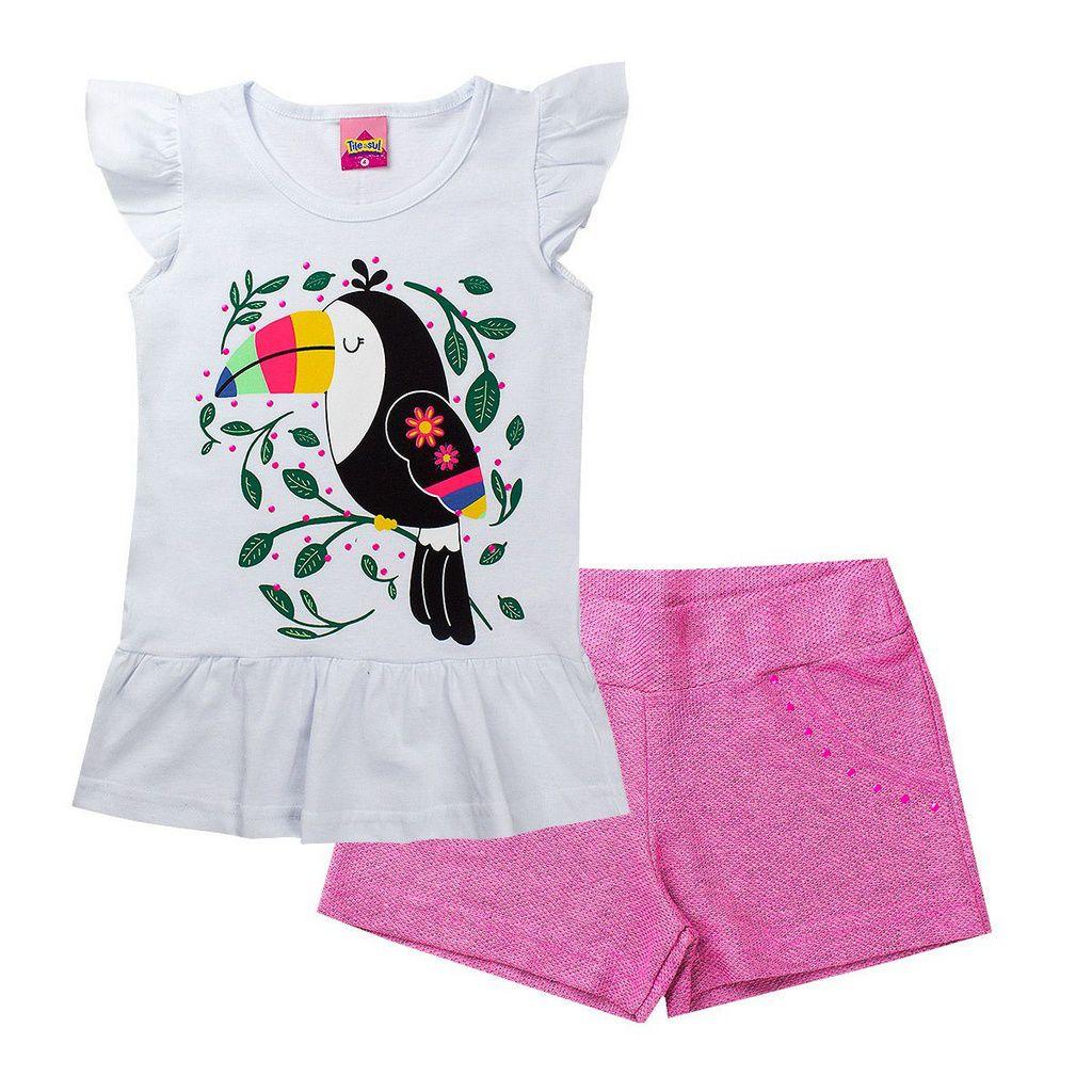 Conjunto Infantil Feminino Tucano Branco - Tileesul