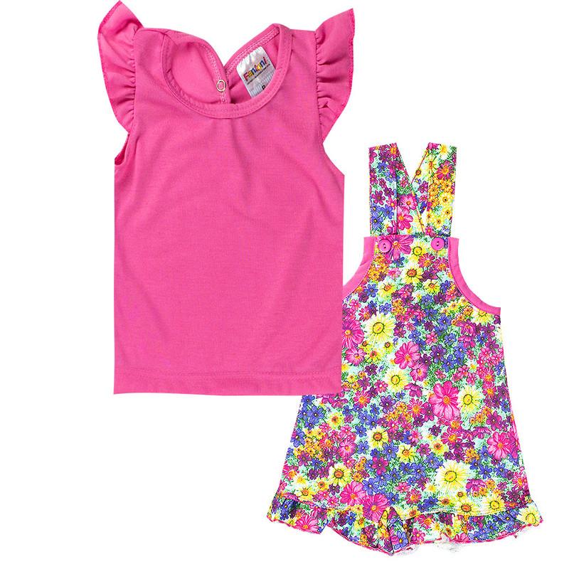 Conjunto Infantil Jardineira Contendo 2 Peças Roupas Meninas