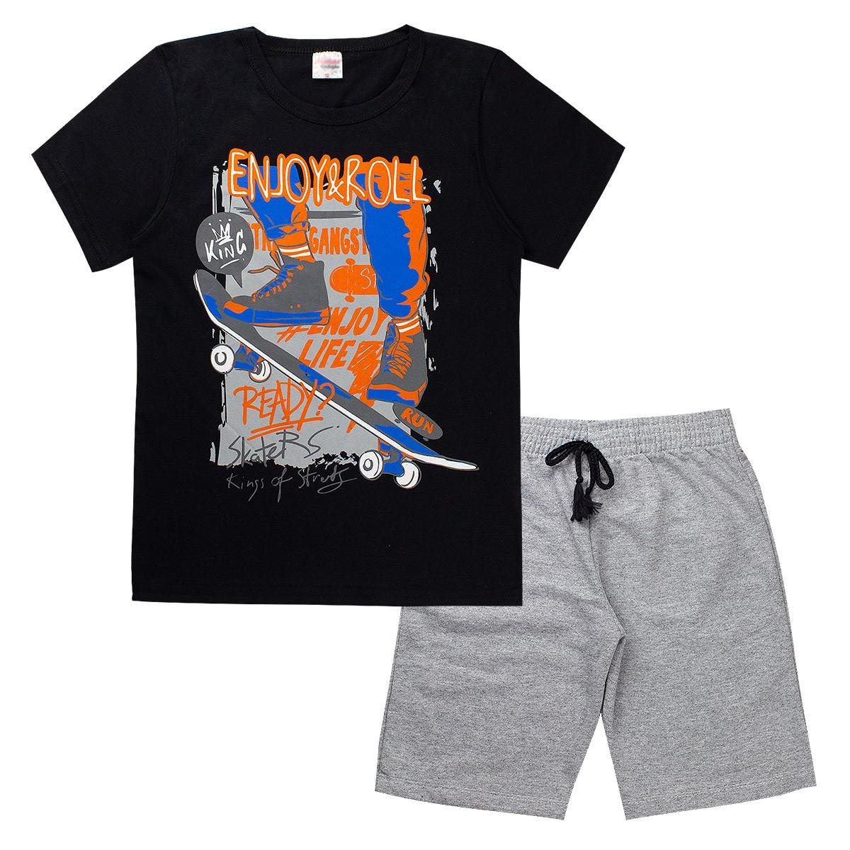 Conjunto Infantil/Juvenil Enjoy & Roll Preto Moderna
