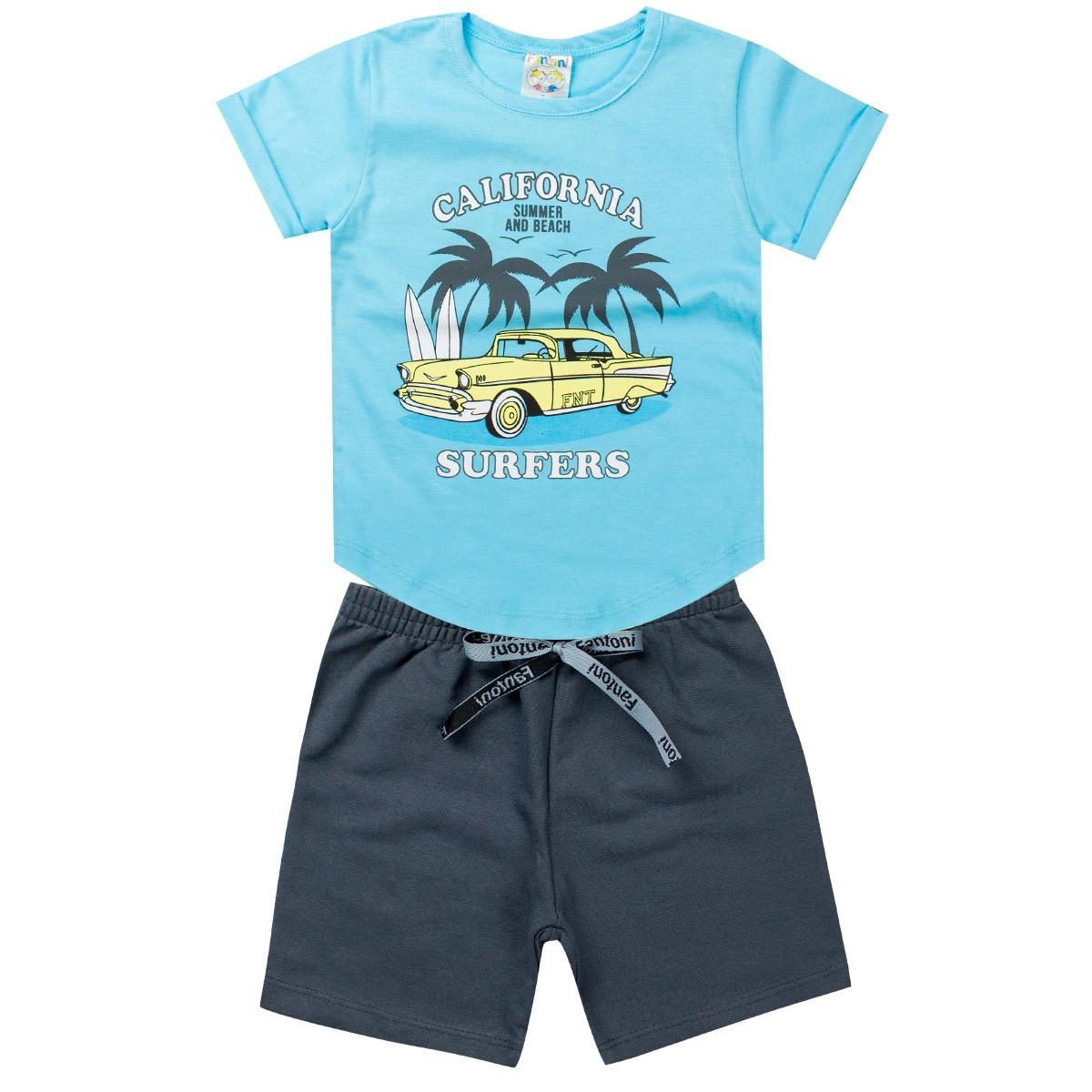 Conjunto Infantil Masculina Califórnia Azul - Fantoni