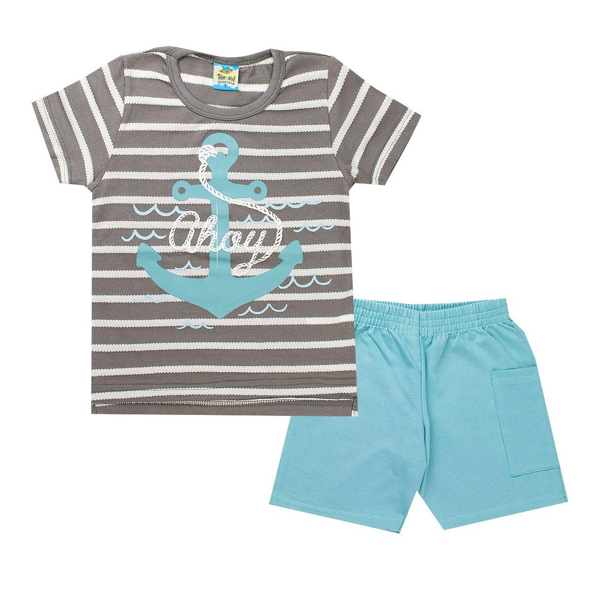 Conjunto Infantil Masculino Ahoy Listra Cinza - Tileesul