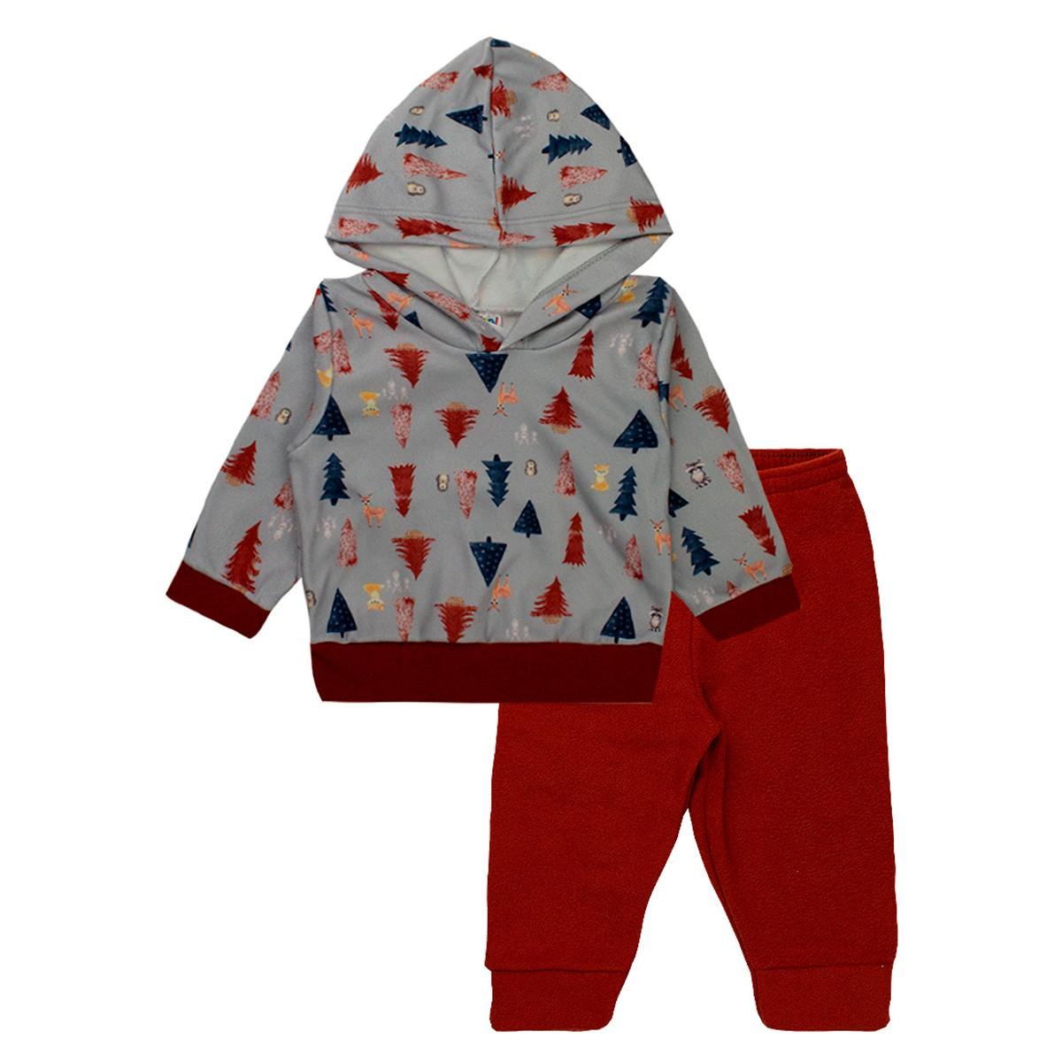 Conjunto Infantil Masculino Bebê Soft Com Capuz - Terra