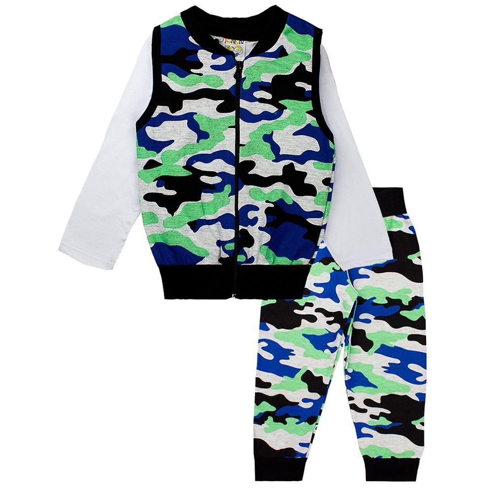 Conjunto Infantil Masculino Camuflado 3 Peças Azul Fantoni