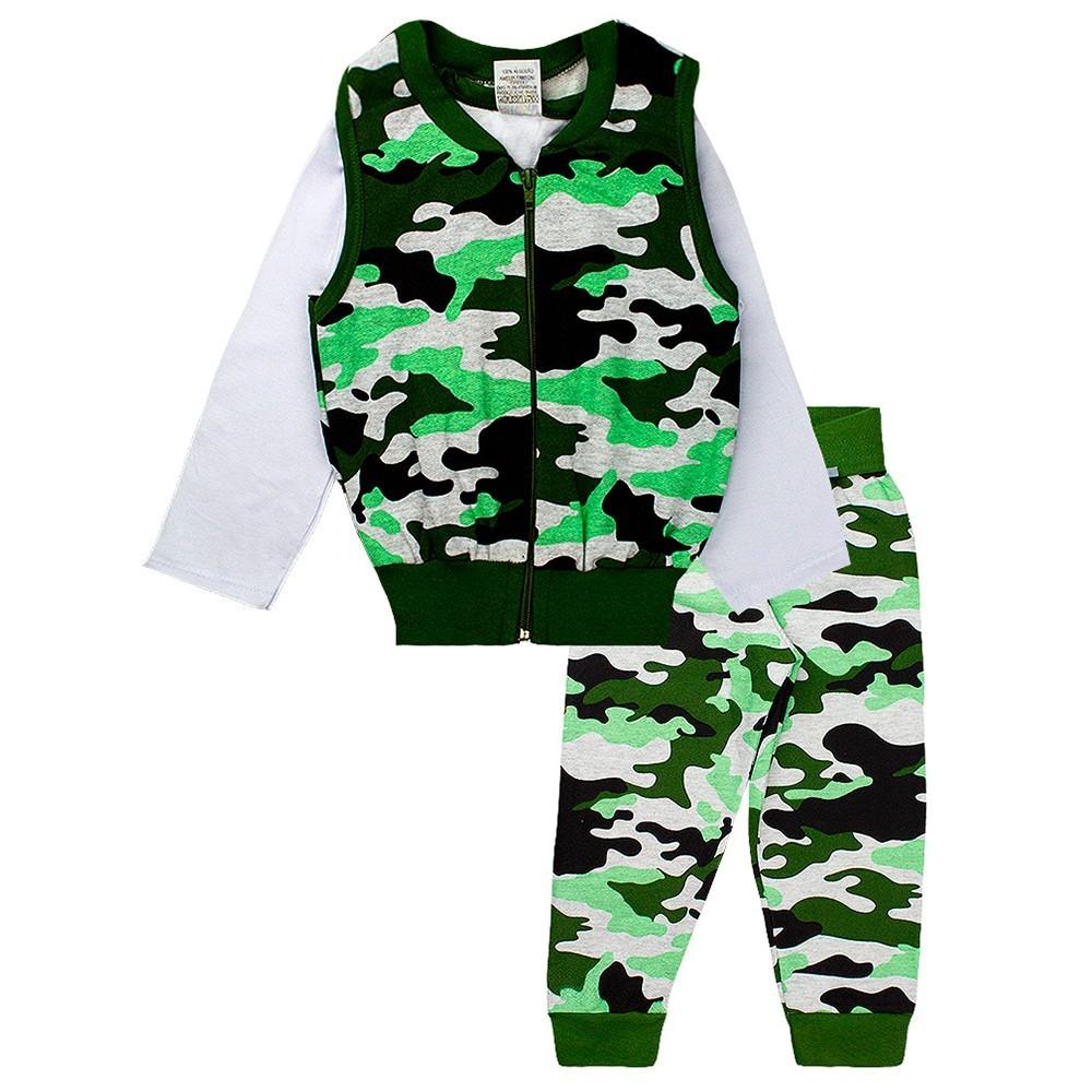 Conjunto Infantil Masculino Camuflado 3 Peças Verde Fantoni