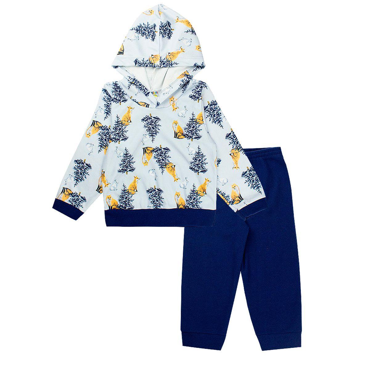 Conjunto Infantil Masculino Com Capuz Soft Azul - Fantoni