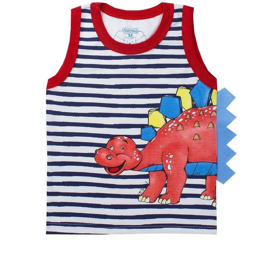 Conjunto Infantil Masculino Dinossauro Vermelho - Tileesul