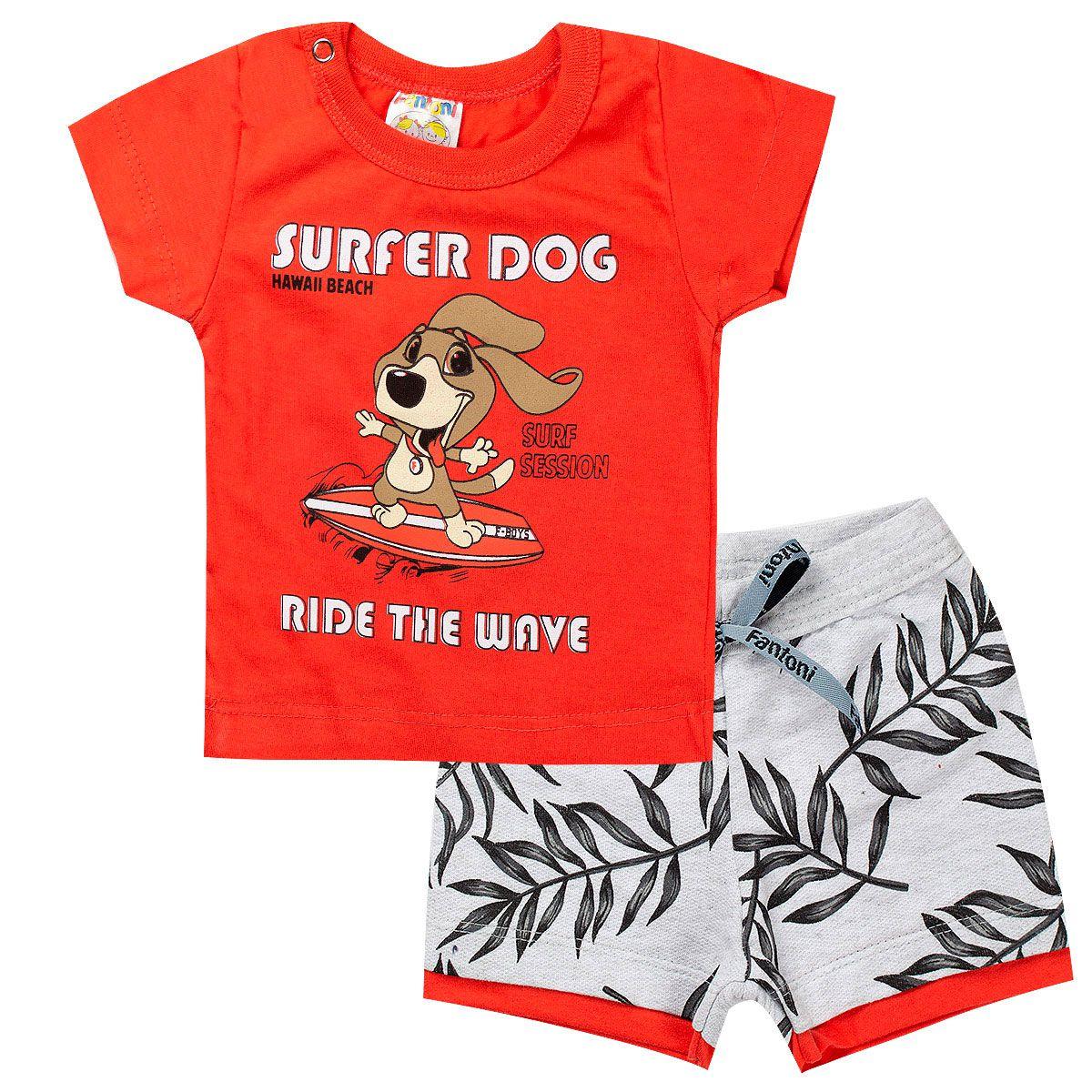 Conjunto Infantil Masculino Dog Vermelho- Fantoni