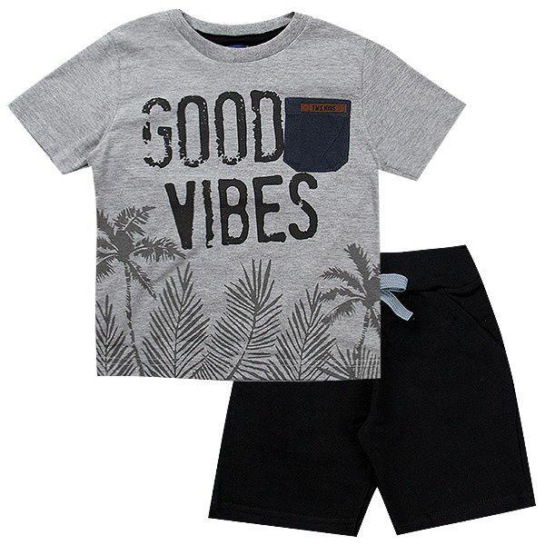 Conjunto Infantil Masculino Good Vibes Mescla - TMX