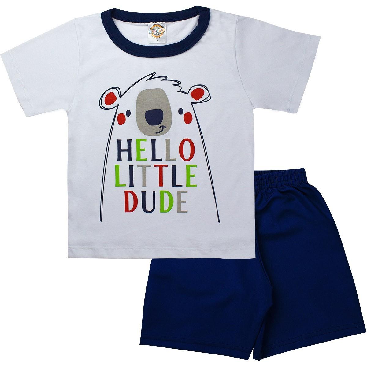 Conjunto Infantil Masculino Hello Little Branco - Kontrato