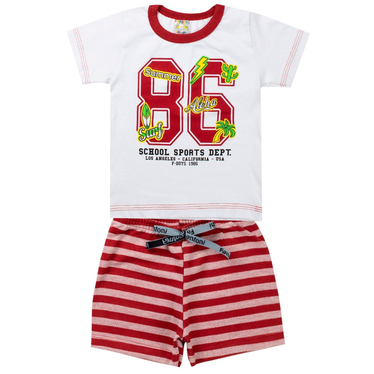 Conjunto Infantil Masculino Jacaré Vermelho - Fantoni