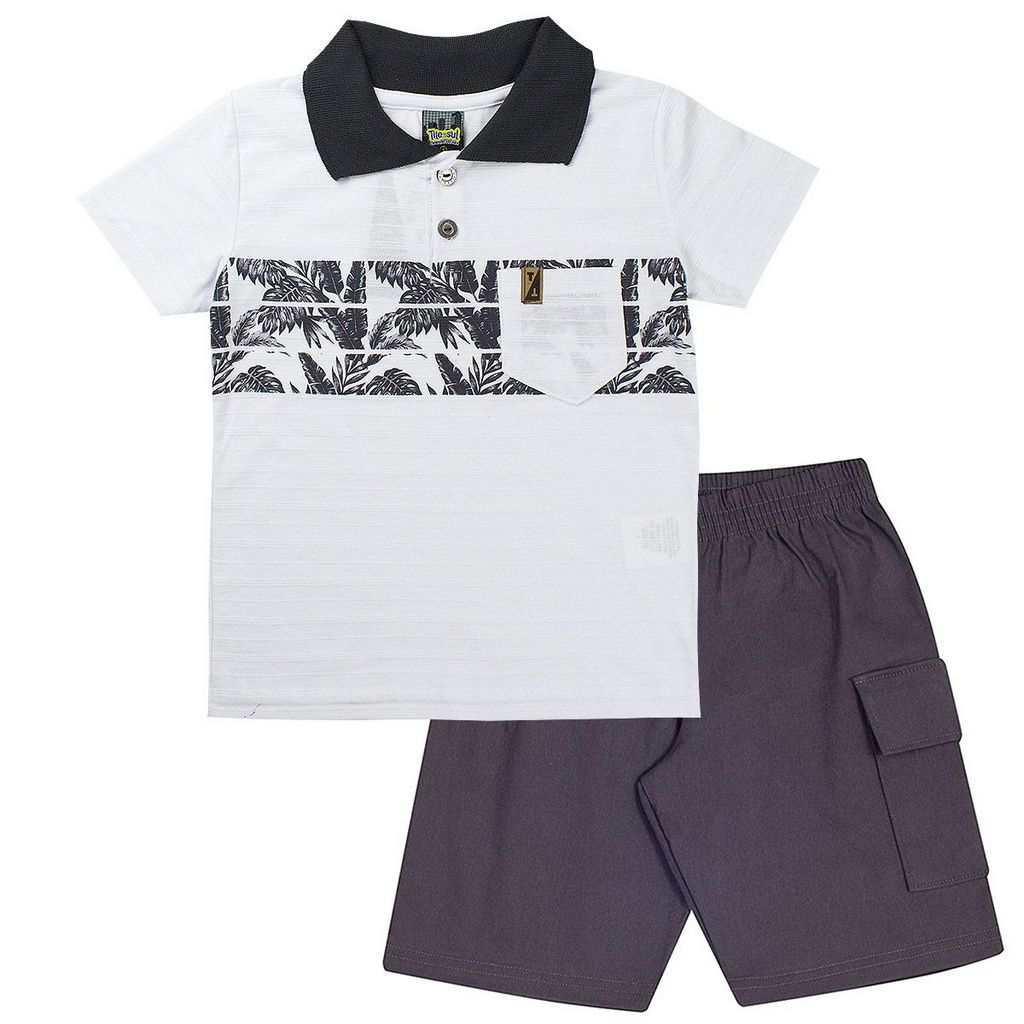Conjunto Infantil Masculino Polo Branco - Tileesul