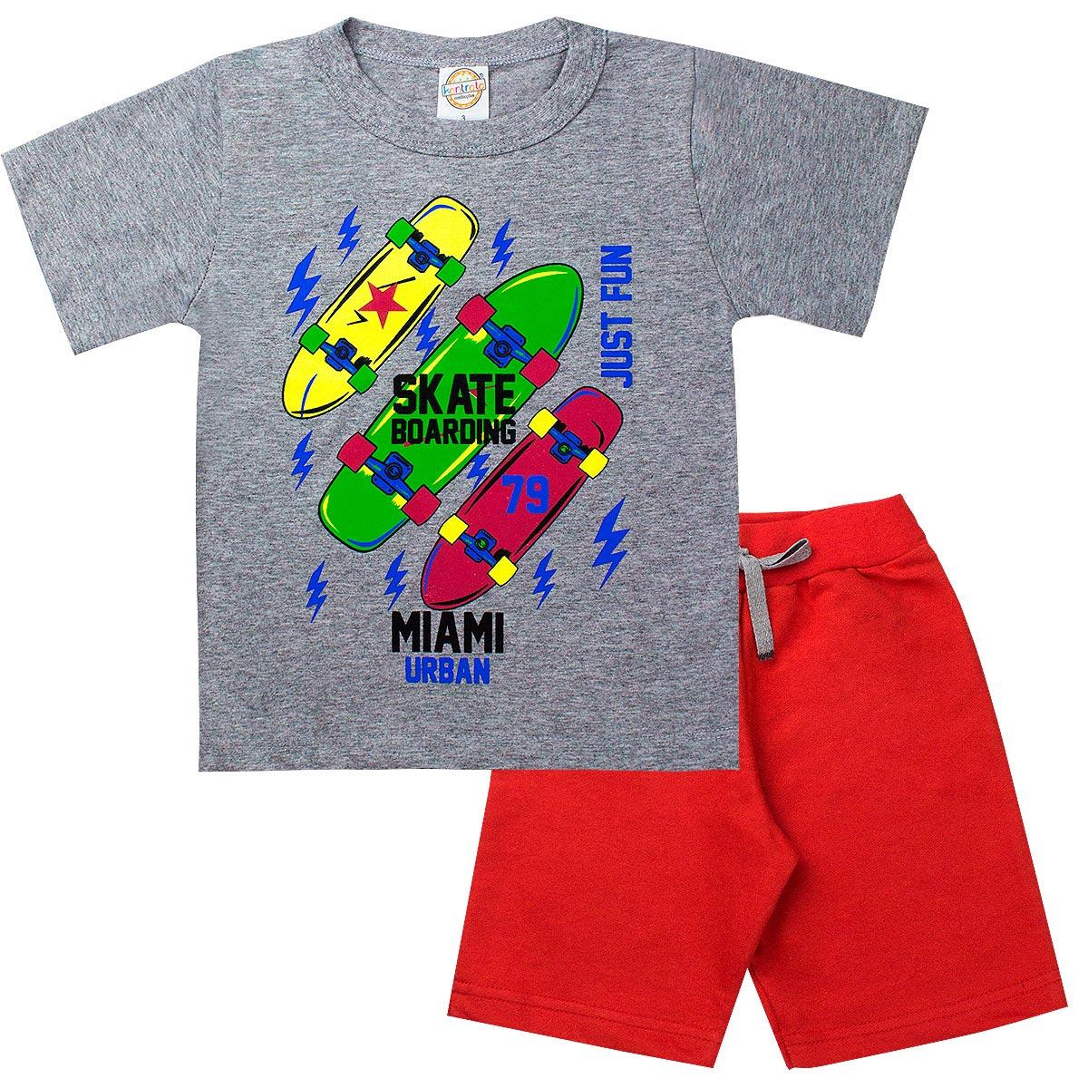 Conjunto Infantil Masculino Skate Mescla - Kontrato