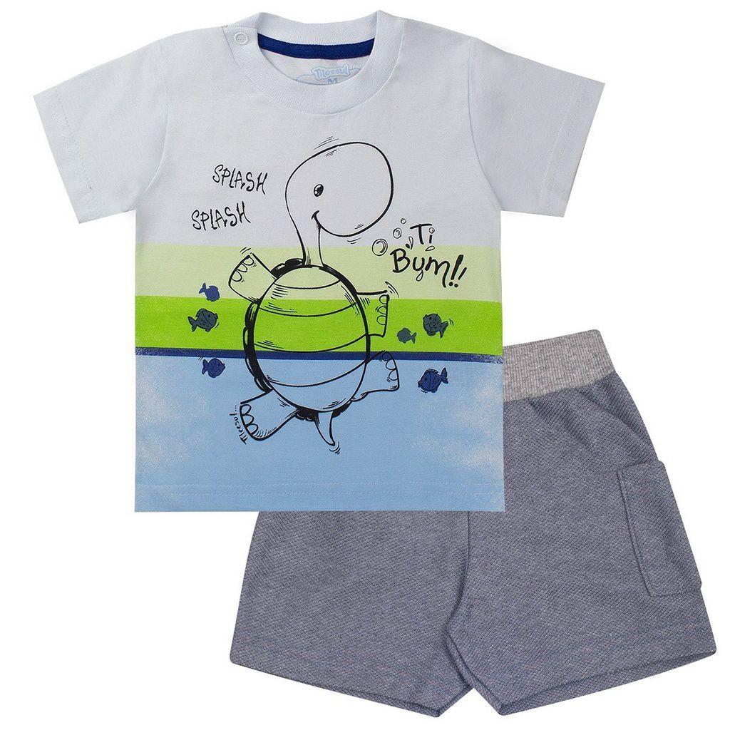 Conjunto Infantil Masculino Tartaruga Branco - Tileesul